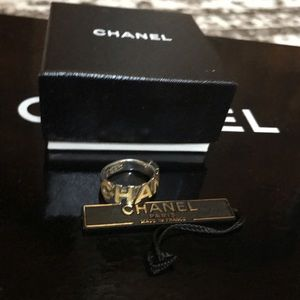 Authentic CHANEL Coco silver logo ring 6.5